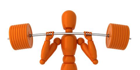 Orange mannequin with orange weight.