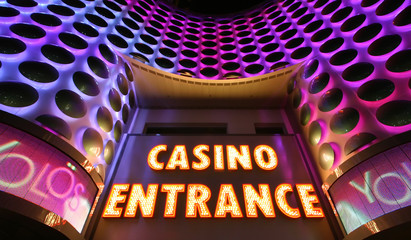 Casino entrance sign in lights at the Las Vegas Strip