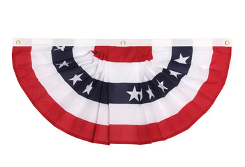 A US flag colored bunting decoration , isolated on white