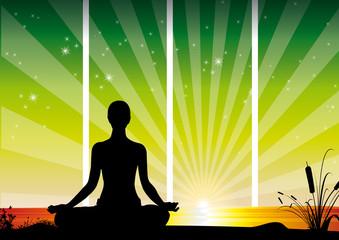 Women zen green attitude
