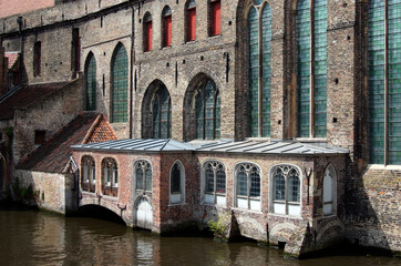 House detail along a canal in Bruges