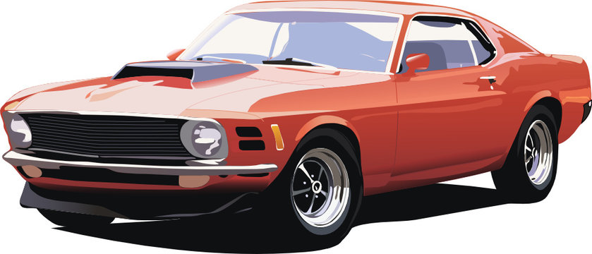 illustration of old american car