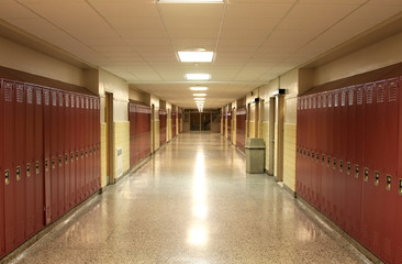 Empty School Hallway with Student Lockers