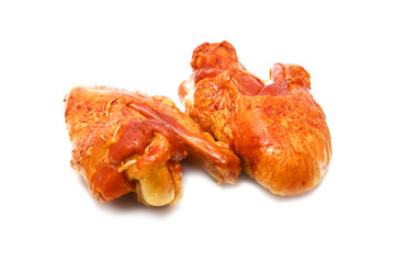 two roasted turkey wings isolated over white