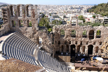 details of acropolis theater, Acropolis in Athens – Greece
