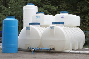 The big plastic storages for various liquids