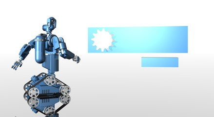 blue medical droid with banner