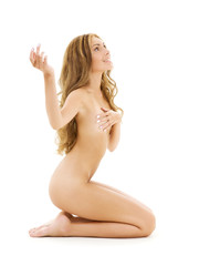 bright picture of healthy naked woman over white