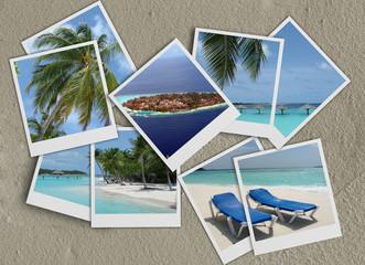 Vacanze -polaroid - sfondo sabbia