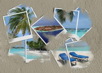 Vacanze -polaroid - sfondo sabbia H