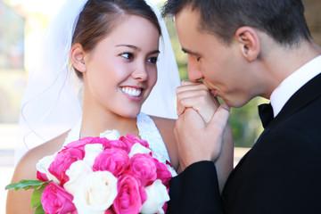 A attractive bride groom at church wedding