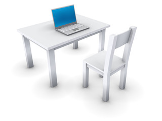An isolated simple table with notebook on white background