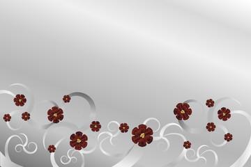 Silberfarbener Hintergrund mit roten Blüten