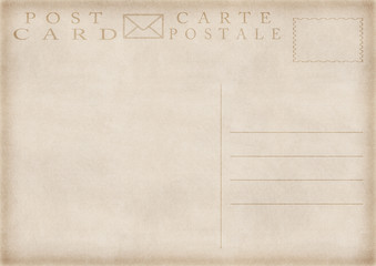 illustration of old vintage blank postcard