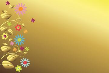 Goldene Blätter und bunte Blüten vor goldenem Hintergrund