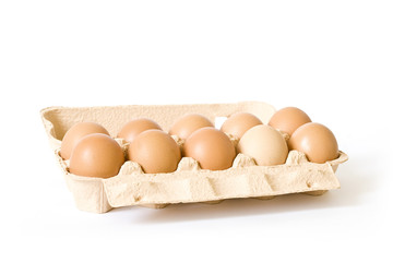 Packing of eggs isolated on a white background
