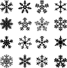 16 Black and White Snowflakes Set. Easy to edit vector.