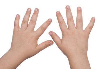 child hands isolated on white