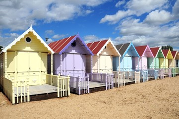 Beach and colourful huts