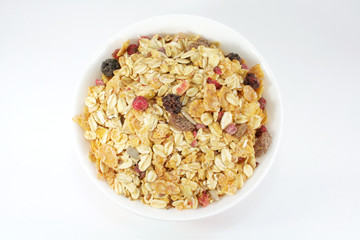 Muesli Breakfast In A Bowl or Cup With White Background