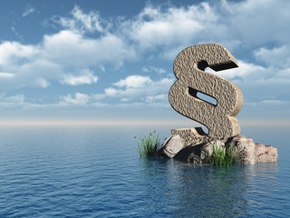 paragraph monument at water landscape - 3d illustration