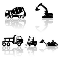 construction silhouettes with shadow illustration