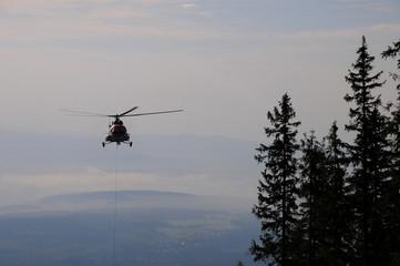 Hubschrauber beim Wald