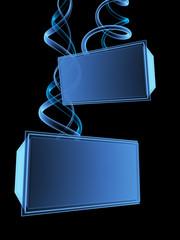 3d digital transparent screens. Object over black