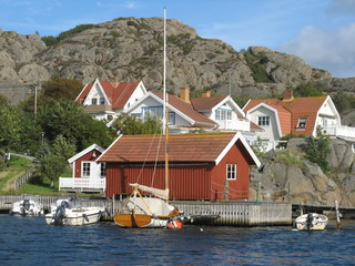 Houses by the sea on the West coast of Sweden