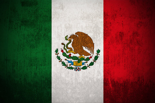 Weathered Flag Of Mexico, fabric textured