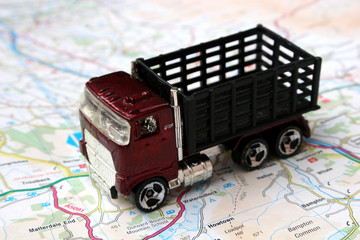 toy truck on map