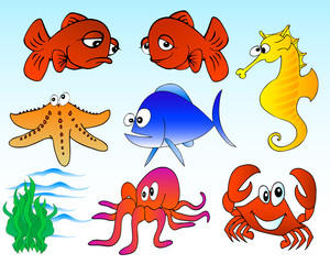 cartoon sea life