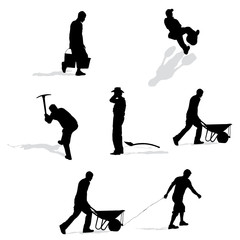 set of construction workers, vector silhouettes