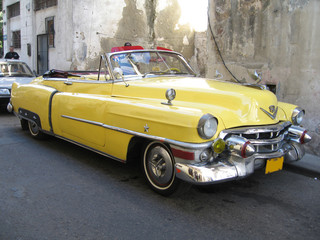 Garden Poster Cars from Cuba Yellow old cabrio car in Havana Cuba