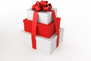 3d rendering of red and white gift boxes stacked
