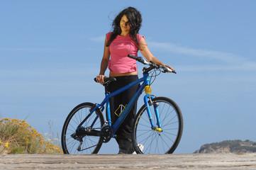 biker girl near the beach