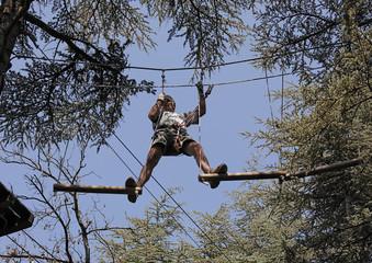 Sport entre les cimes des arbres