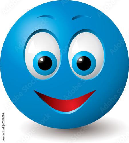 """Vector: Happy blue smiley face (CMYK colors used)"" Stock ..."