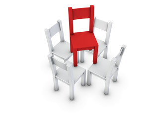 An isolated gray chairs supporting red one on white background