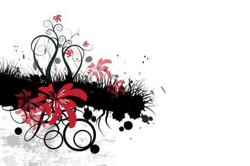 Schwarzgraues Element mit roten Blüten