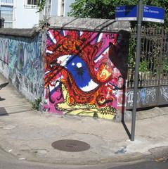 Oeil bleu tagué au coin d'une rue, Rio de Janeiro, Brésil