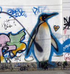 Pingouin dessiné sur un mur, Rio de Janeiro, Brésil.