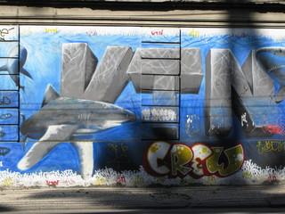 """""""Crew"""" Requin peint sur un mur. Rio de Janeiro, Brésil."""