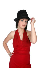 cute teen in black hat and red gown