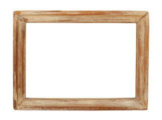 Old wooden picture frame isolated on white.