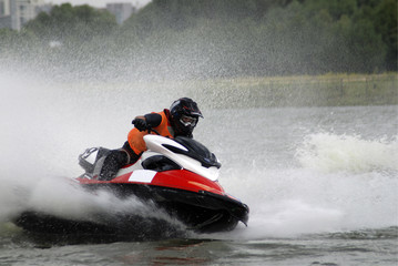 Fototapeten Motorisierter Wassersport High-speed jetski