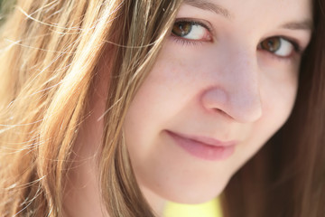 close-up portrait of the romantic green-eyed girl