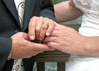 Bride and Groom showing off their rings.