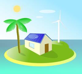 Maison écologique sur une ile déserte