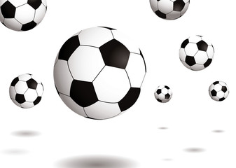Collection of footballs bouncing on a plain white background